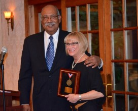 Detective Sergeant Cynthia Boyd, Jersey Shore Humanitarian Award recipient and Dr. Webster Trammell, Dining for Diversity co-chair (and vice president, Development, Government & Community Relations, Brookdale Community College). Det. Sgt. Boyd serves on the Ocean County Human Relations Commission and is 1st Vice President, NJ State Bias Crime Officers Association. She lives the mission of her office and the organizations she serves, helping to create an Ocean County that is free from bias and bigotry and safe for all, regardless of age, race, sexual orientation, faith, socio-economic class – or any of the other many ways we can be different and unique.