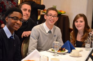 Members of the LAKEWOOD HIGH SCHOOL Lead for Diversity delegation and their advisor. L to R: Marlon Young, advisor Kevin Walters, Tomas Uribe and Kaitlin Peltz. NJ Natural Gas sponsors Lakewood High School's participation in LEAD FOR DIVERSITY.