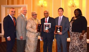 Hudson County Chapter Humanitarian Awards Left to right: Chapter Chair Konstantin Yusipov; Luncheon Chair Stuart Koperweis; Award Recipients Frances O. Thompson, PhD, Vijay Gupta and Jonathan Luk, GISP, AICP; and American Conference on Diversity President & CEO Elizabeth Williams-Riley.